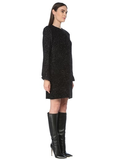 NetWork NetWork 1077213 Sim Dokulu Uzun Kollu Mini Elbise Siyah